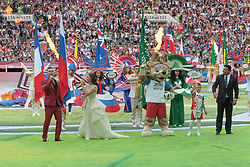June 14, 2018 - Moscow, Russia - the Opening ceremony FIFA World Cup 2018 before the group A match between Russia and Saudi Arabia at the 2018 soccer World Cup at Luzhniki stadium in Moscow, Russia, Tuesday, June 14, 2018. (Credit Image: © Anatolij Medved/NurPhoto via ZUMA Press)