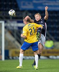 Cowdenbeath's Craig Johnston and Falkirk's Peter Grant. <br /> Falkirk 1 v 0 Cowdenbeath, Scottish Championship game played 31/3/2015 at The Falkirk Stadium.