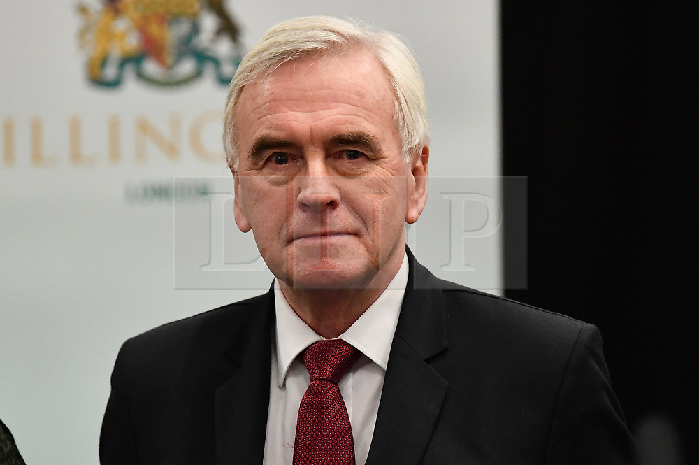 © Licensed to London News Pictures. 13/12/2019. London, UK. Shadow Chancellor JOHN MCDONNELL at the General Election count for the constituency of Hayes and Harlington. A general election was called for December 12th following a deadlock in Parliament over the UK's decision to leave the EU. Photo credit: Ben Cawthra/LNP