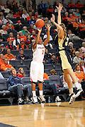 Nov. 14, 2010; Charlottesville, VA, USA; Virginia guard Whitny Edwards (2) shoots the ball in front of Mount St. Mary's forward Tara Lonergan (33) during the game at the John Paul Jones Arena. Virginia won 81-58. Mandatory Credit: Andrew Shurtleff