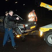Ongeval Bollelaan Naarden, auto in de takels