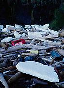 Plastic and styrofoam flotsam with beach driftwood, Washington Islands Wilderness, North Olympic Coast, Olympic National Park, Washington.