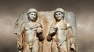 Close up of a Roman Sebasteion relief  sculpture of  Two princes, Aphrodisias Museum, Aphrodisias, Turkey. Against an art background.<br /> <br /> Two princes stand like statues, naked, wearing cloaks. The left figure holds the orb of the world in one hand, a symbol of  world rule that indicates he is the imperial heir, and in the other a ship's stern ornament (aphlaston), a symbol of naval victory. They and probably Gius and Lucius, the grandsons of Augustus, or Nero and Britanicus, Claudius' heir. .<br /> <br /> If you prefer to buy from our ALAMY STOCK LIBRARY page at https://www.alamy.com/portfolio/paul-williams-funkystock/greco-roman-sculptures.html . Type -    Aphrodisias     - into LOWER SEARCH WITHIN GALLERY box - Refine search by adding a subject, place, background colour, museum etc.<br /> <br /> Visit our ROMAN WORLD PHOTO COLLECTIONS for more photos to download or buy as wall art prints https://funkystock.photoshelter.com/gallery-collection/The-Romans-Art-Artefacts-Antiquities-Historic-Sites-Pictures-Images/C0000r2uLJJo9_s0