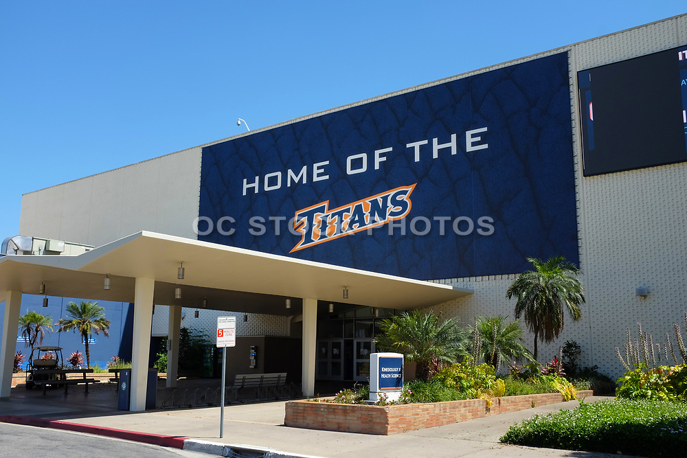 Home of the Titans Banner Over the Kinesiology and Health Sciences Building on at California State University Fullerton