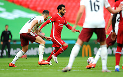 Mohamed Salah of Liverpool gets past Granit Xhaka of Arsenal- Mandatory by-line: Nizaam Jones/JMP - 29/08/2020 - FOOTBALL - Wembley Stadium - London, England - Arsenal v Liverpool - FA Community Shield