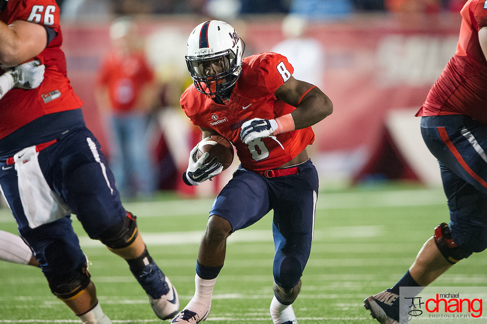 MOBILE, AL - OCTOBER 24: Running back Jay Jones #8 of the South Alabama Jaguars runs the ball downfield during their game against the Troy Trojans on October 24, 2014 at Ladd-Peebles Stadium in Mobile, Alabama.  The South Alabama Jaguars defeated the Troy Trojans 27-13. (Photo by Michael Chang/Getty Images) *** Local Caption *** Jay Jones