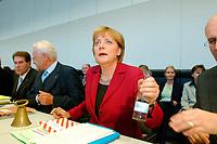 23 SEP 2003, BERLIN/GERMANY:<br /> Angela Merkel, CDU bundesvorsitzender und CDU/CSU Fraktionsvorsitzende, vor Beginn der Sitzung der CDU/CSU Bundestagsfraktion, Deutscher Bundestag<br /> IMAGE: 20030923-02-014