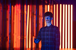 """© Licensed to London News Pictures. 15/09/2017. London, UK. Flynn Talbot presents his work """"Reflection Room"""", an immersive light experience, made with 56 custom Barisol panels and LED strips, at the V&A museum in Kensington.  This work forms part of the London Design Festival, a programme of events and installations celebrating design taking place across the capital 16-24 September 2017.  Photo credit : Stephen Chung/LNP"""