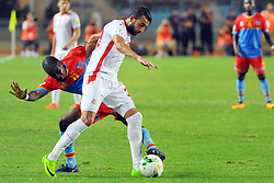 September 1, 2017 - Tunis, Tunisia - Ghaylene Chaalali(20) of Tunisia and kakuta Gael(11) of Congo during the qualifying match for the World Cup Russia 2018 between Tunisia and the Democratic Republic of Congo (RD Congo) at the Rades stadium in Tunis. (Credit Image: © Chokri Mahjoub via ZUMA Wire)