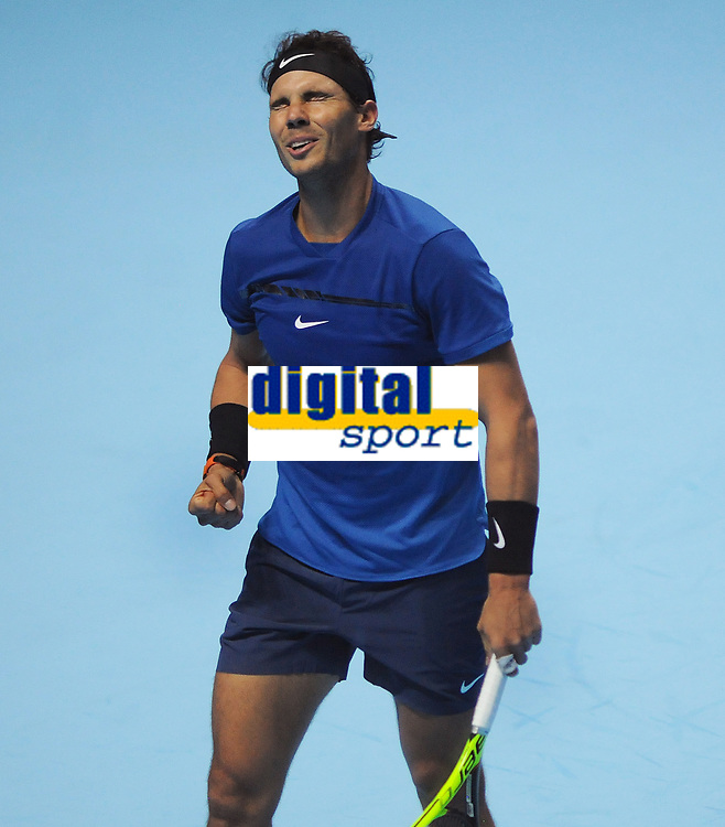 Tennis - 2017 Nitto ATP Finals  at The 02 - Day Two, Monday<br /> <br /> Rafael Nadal v David Goffin<br /> <br /> Rafael Nadal grimaces as he play through the pain barrier<br /> <br /> COLORSPORT/ANDREW COWIE