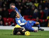 Fotball<br /> Championship England 2004/05<br /> Watford v Cardiff<br /> 28. desember 2004<br /> Foto: Digitalsport<br /> NORWAY ONLY<br /> NICE HARD TACKLE BY GAVIN MAHON ON JOBI MCANUFF