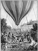 Joseph Louis Gay-Lussac (1778-1850) French chemist, physicist and balloonist, making a balloon ascent from Paris, 14 September 1804. On this flight he reached a height of 7016m and confirmed many of the observations he and Biot made on their flight of 20 August 1804. From Lecornu 'La Navigation Aerienne', Paris, 1910
