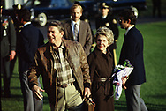 Washington, DC        President Ronald Reagan and First Lady Nancy Reagan leaving  the White House for Camp David. <br /><br />Photograph by Dennis Brack