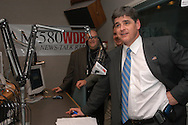 Television and radio personality Sean Hannity makes an appearance at the AM580 WDBO radio station in Orlando, Florida.