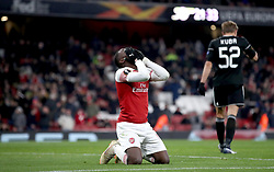 Arsenal's Eddie Nketiah reacts to being ruled offside after scoring a goal during the UEFA Europa League, group E match at Emirates Stadium, London.