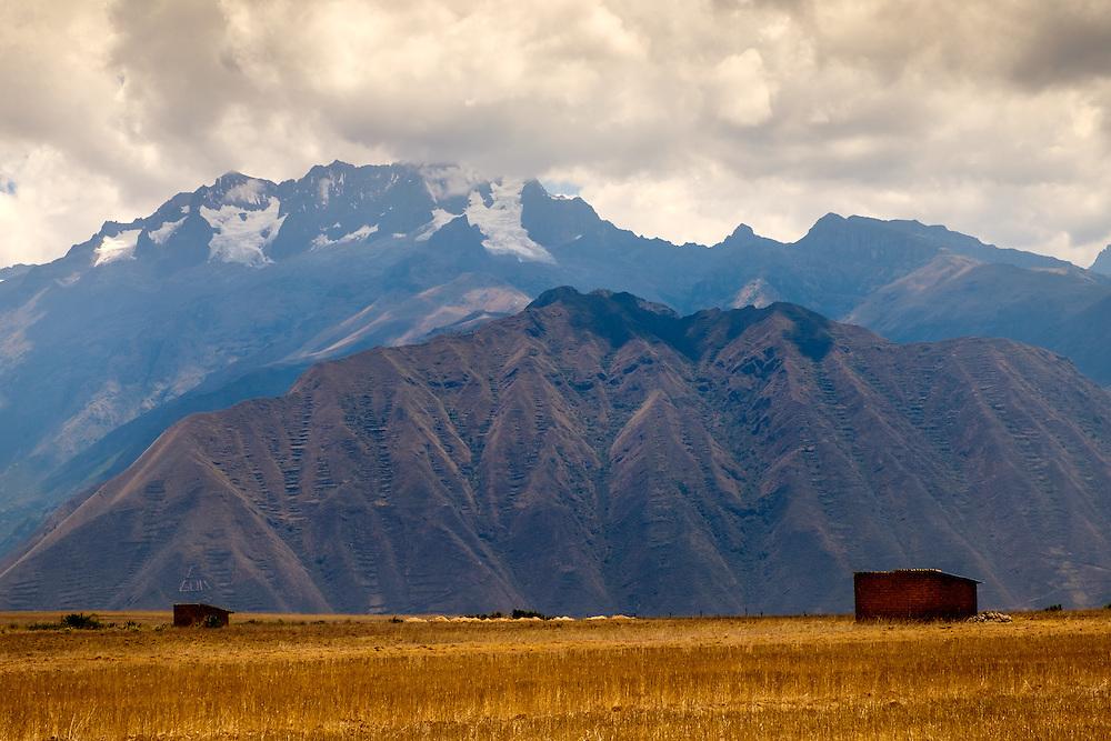 URUBAMBA PROVINCE, CUSCO,  PERU - CIRCA OCTOBER 2015:  Valley landscape in Urubamba in the Cusco region known as Sacred Valley in Peru.