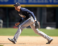 CHICAGO - JULY 09:  Freddie Freeman #5 of the Atlanta Braves fields against the Chicago White Sox on July 9, 2016 at U.S. Cellular Field in Chicago, Illinois.  The White Sox defeated the Braves 5-4.  (Photo by Ron Vesely) Subject:    Freddie Freeman