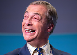 © Licensed to London News Pictures. 08/11/2019. Newport, Wales, UK. General Election 2019; A Brexit Party rally with NIGEL FARAGE, leader of the Brexit Party, at the International Convention Centre Wales in Newport, as part of his nationwide General Election campaign tour. Photo credit: Simon Chapman/LNP.