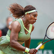 PARIS, FRANCE June 4.  Serena Williams of the United States in action against Danielle Collins of the United States on Court Philippe-Chatrier during the third round of the singles competition at the 2021 French Open Tennis Tournament at Roland Garros on June. 4th 2021 in Paris, France. (Photo by Tim Clayton/Corbis via Getty Images)
