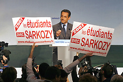 French Interior Minister and right wing presidential candidate Nicolas Sarkozy delivers a speech during a public meeting in Perpignan, France on February 23, 2007. Photo by Pascal Parrot/ABACAPRESS.COM