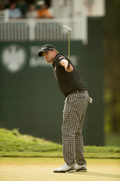 FARMINGDALE, NY - AUGUST 25:  Nick Watney watches a putt during the third round of the 2012 Barclays at the Black Course at Bethpage State Park in Farmingale, New York on August 25, 2012. (Photograph ©2012 Darren Carroll) *** Local Caption *** Nick Watney