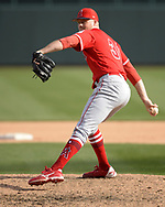 GLENDALE, ARIZONA - MARCH 04:  Ty Buttrey of the Los Angeles Angels pitches against the Chicago White Sox on March 4, 2019 at Camelback Ranch in Glendale Arizona.  (Photo by Ron Vesely)  Subject:  Ty Buttrey