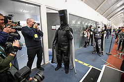 © Licensed to London News Pictures. 13/12/2019. London, UK. COUNT BINFACE (right) gestures as LORD BUCKETHEAD (left) arrives at the Hillingdon General Election count for the constituency of Uxbridge and South Ruislip. A general election was called for December 12th following a deadlock in Parliament over the UK's decision to leave the EU. Photo credit: Ben Cawthra/LNP