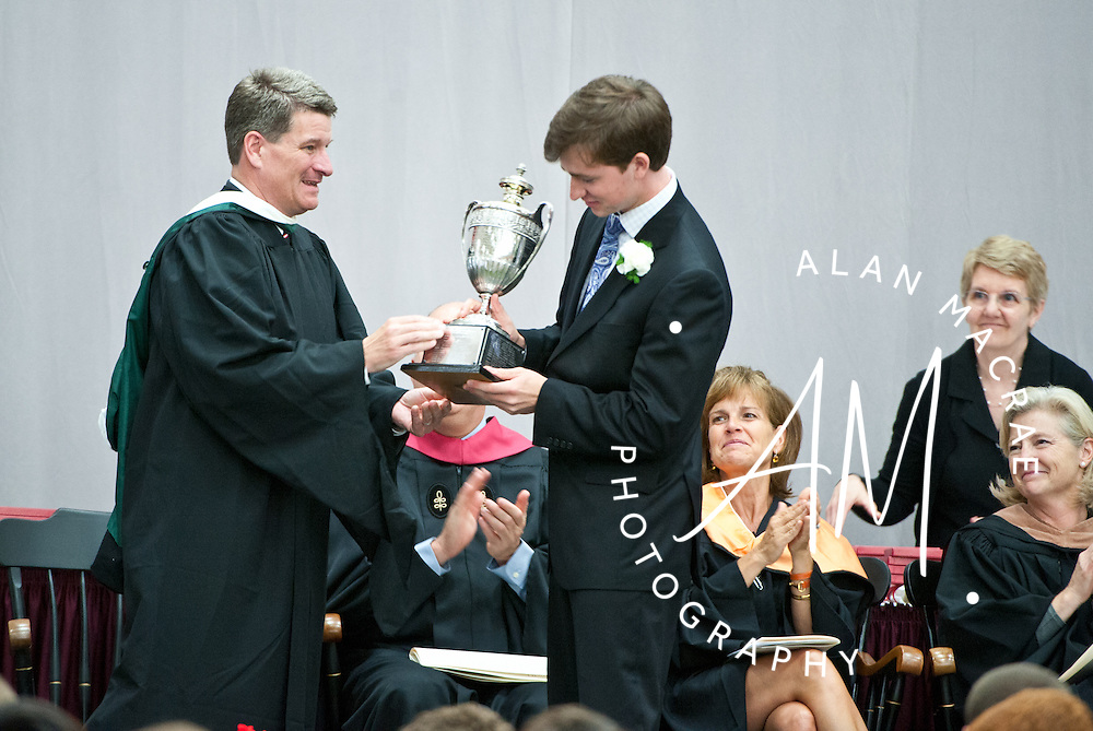 Concord's Ian Michael Gallager is presented the Charles S. Knox Memorial Cup for the greatest distinction in scholarship during commencement of the Form of 2012 at St. Paul's School on Sunday, June 3, 2012.  (Alan MacRae/for the Monitor)