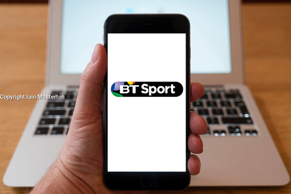 Using iPhone smartphone to display logo of BT Sport TV streaming service