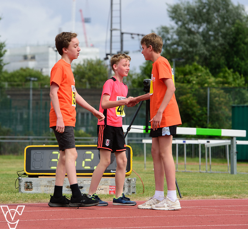 Event: 400 meters<br /> Competitors, from left: Asher Jenkin-Jones, Ben Reynolds and Arthur Milles<br /> <br /> Metro Blind Sport's 42nd Athletics Open, held at Mile End Stadium, Tower Hamlets, London.<br /> <br /> Picture: Chris Vaughan Photography for Metro Blind Sports<br /> Date: June 16, 2018