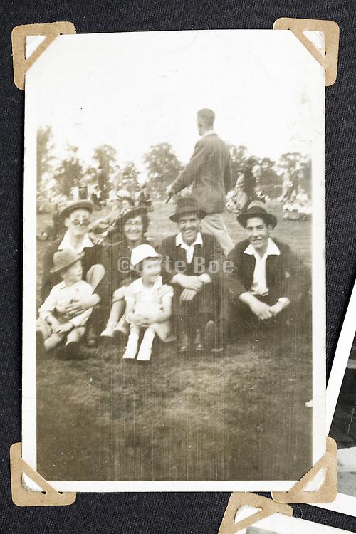 happy family moment vintage image in album