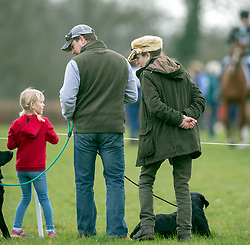Mia Tindall gets a lift from Savannah Phillips at the Land Rover Gatcombe Horse Trials on the estate of the Princess Royal.
