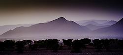 Desert landscape in evening light, southern Morocco