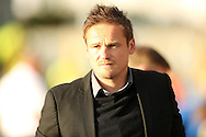 Neal Ardley, the AFC Wimbledon manager arrives at the dugout before k/o. Skybet football league two play off semi final, 1st leg match, AFC Wimbledon v Accrington Stanley at the Cherry Red Records Stadium in Kingston upon Thames, Surrey on Saturday 14th May 2016.<br /> pic by John Patrick Fletcher, Andrew Orchard sports photography.