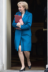 Downing Street, London, January 17th 2017. Environment, food and Rural Affairs Secretary Andrea Leadsom leaves 10 Downing Street following the weekly cabinet meeting, ahead of Prime Minister Theresa May's key Brexit speech.