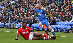 Marcus Maddison of Peterborough United is fouled by Dimitri Cavare of Barnsley which resulted in the Peterborough United player going off injured - Mandatory by-line: Joe Dent/JMP - 06/10/2018 - FOOTBALL - ABAX Stadium - Peterborough, England - Peterborough United v Barnsley - Sky Bet League One