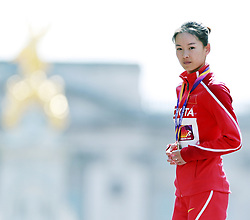 LONDON, Aug. 14, 2017  Yang Jiayu of China reacts during the awarding ceremony for Women's 20km Race Walk on Day 10 of the 2017 IAAF World Championships in London, Britain, on Aug. 13, 2017. Yang Jiayu claimed the title with 1 hour 26 minutes 18 seconds. (Credit Image: © Luo Huanhuan/Xinhua via ZUMA Wire)