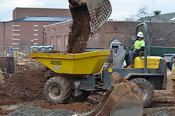 Operating Wacker Neuson loader in earthmoving operations. Central Connecticut State University. New Academic / Office Building.  Project No: BI-RC-324. Architect: Burt Hill Kosar Rittelmann Associates. Contractor: Gilbane Building Company, Glastonbury, CT.