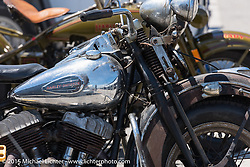 Harley-Davidson Flat Head Racer at the Vintage road races at New Hampshire Motor Speedway during Laconia Motorcycle Week. Laconia, NH, USA. June 14, 2015.  Photography ©2015 Michael Lichter.