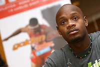 Friidrett<br /> Foto: Inside/Digitalsport<br /> NORWAY ONLY<br /> <br /> Sprinter Asafa Powell of Jamaica attends the Rome Athletic Golden League meeting press conference in Rome, hotel Sheraton, July, 12, 2007.<br /> Roma 12/7/2007