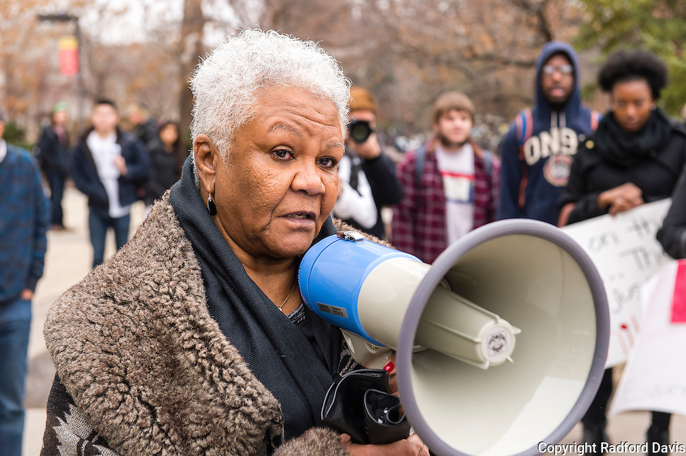 Edna Clinton, president of the Ames chapter of the NAACP, addresses Iowa State University students at the end of their  silent march in protest against the recent deaths of black persons at the hands of police in Missouri, New York, and other locations.