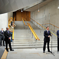 """EDINBURGH, UK - 14th May 2010:  Prime Minister David Cameron paid his first visit as Prime Minister to the Scottish Parliament today calling for a fresh start in relations between the Scots and UK governments.  Speaking on a visit to Holyrood, accompanied at Holyrood by his new Scottish Secretary, Danny Alexander, Mr Cameron also called for an """"agenda of respect"""" between the Westminster and Edinburgh parliaments.  (Photograph: Callum Bennetts/MAVERICK)"""