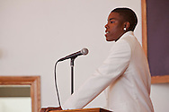 """Kevin's son speaking.<br /> Funeral services for Kevin """"Flipside"""" White at Macedonia Church in Watts.<br /> White was shot dead in what is believed to be an unprovoked attack during a gang conflict at Watts' Nickerson Gardens and Jordan Downs housing projects.<br /> Flipside, 44, was a founding member of Watts' first major label hip hop act, O.F.T.B. (Operation From The Bottom)."""