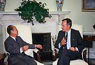President HW Bush  and Japanese  Prime Minister Miyazaha meet in the Oval Office of the White House on July 1, 1992<br />Photo by Dennis Brack