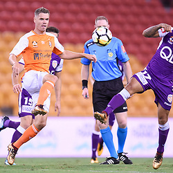 BRISBANE, AUSTRALIA - DECEMBER 21: Diego Castro of the Glory attempts to block the pass of Thomas Kristensen of the Roar during the Round 12 Hyundai A-League match between Brisbane Roar and Perth Glory on December 21, 2017 in Brisbane, Australia. (Photo by Patrick Kearney / Brisbane Roar FC)