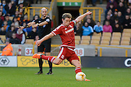 Middlesbrough midfielder Grant Leadbitter scores penalty during the Sky Bet Championship match between Wolverhampton Wanderers and Middlesbrough at Molineux, Wolverhampton, England on 24 October 2015. Photo by Alan Franklin.