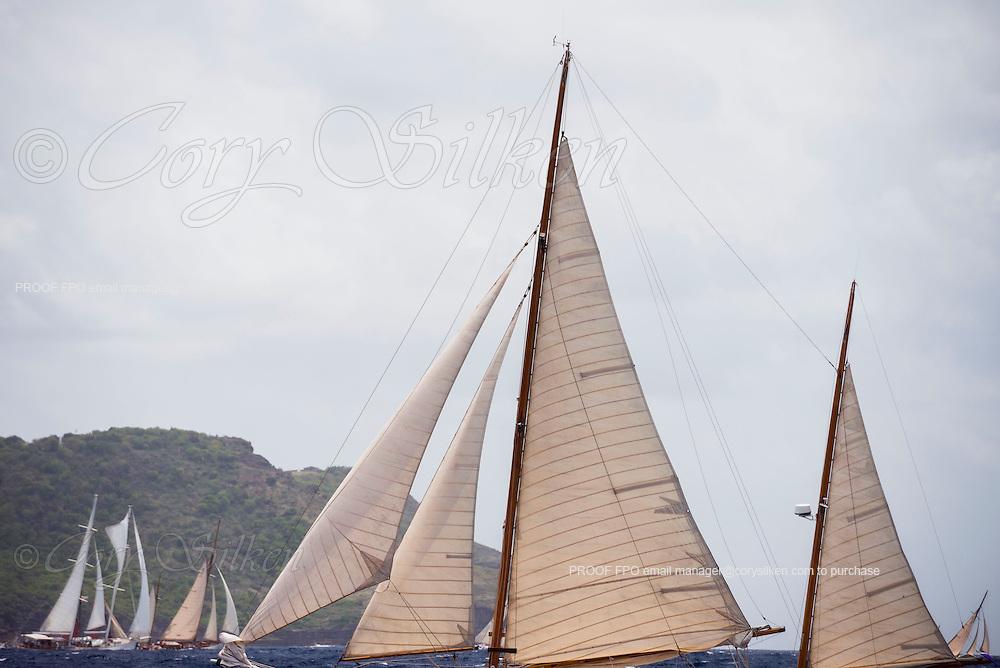 sailing in the Antigua Classic Yacht Regatta, Cannon Race.