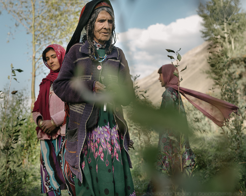 In the field, cutting hay to dry it and feed the animals in winter.<br /> The traditional life of the Wakhi people, in the Wakhan corridor, amongst the Pamir mountains.