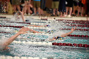 Valerie Peimann of Glacier Swim Club in Juneau competes in the girls 50-yard backstroke finals on Friday, Feb. 14, 2020 in the Alaska Age Group Championships at Gateway Aquadic Center in Ketchikan, Alaska.