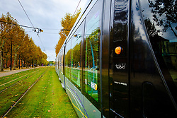Toulouse tram at the Palais de Justice terminus<br /> <br /> (c) Andrew Wilson | Edinburgh Elite media